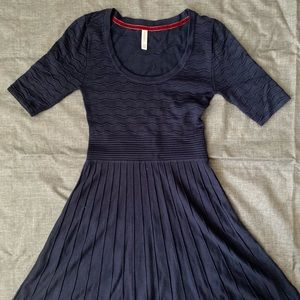 Xhiliration Navy Fit and Flare Sweaterdress